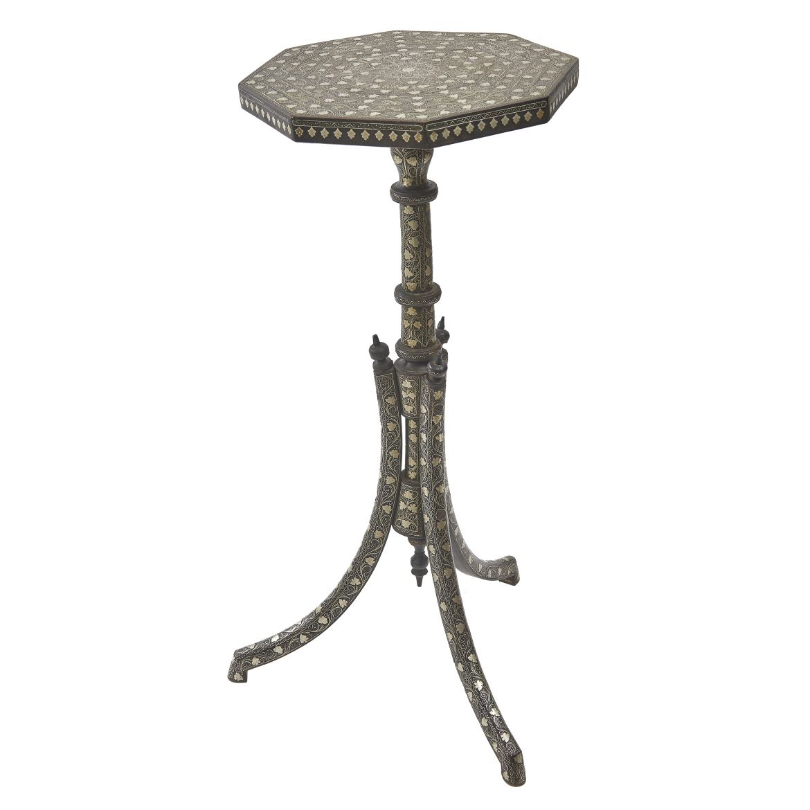 Ottoman Silver Inlaid Palmwood Tripod Table