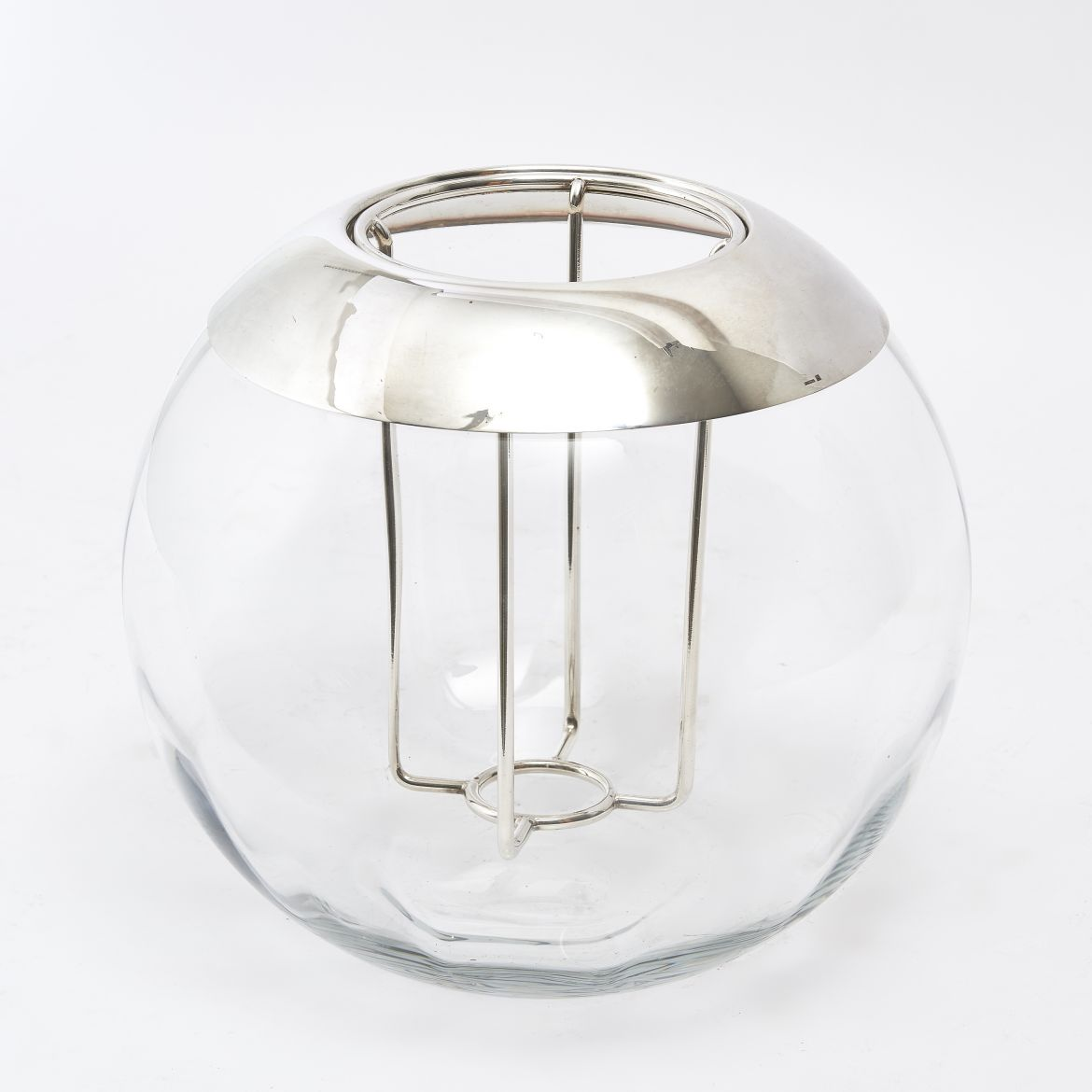 Silver Plate And Glass Ice Bucket In The Shape Of A Matchstriker