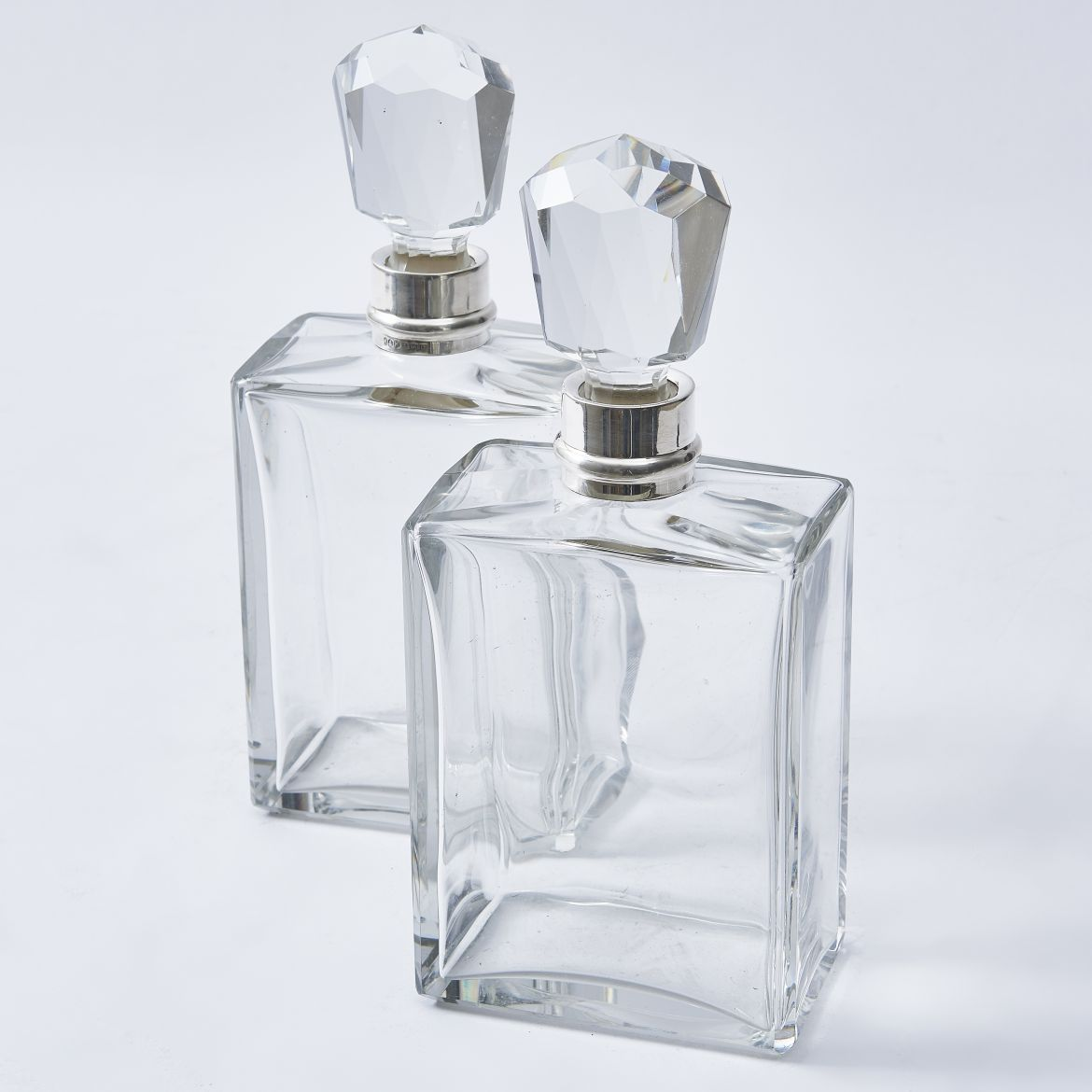 Pair Art Deco Square Crystal Decanters