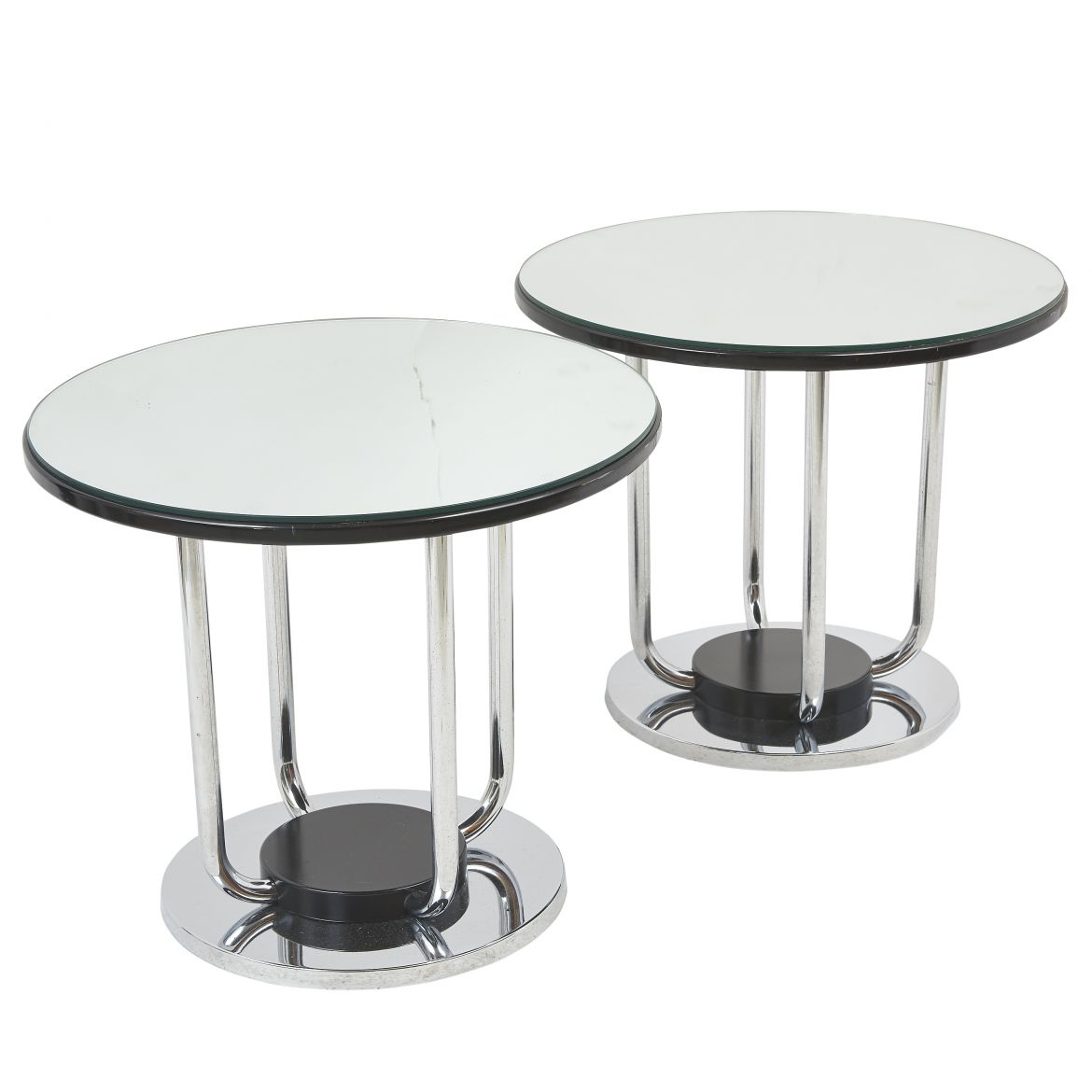 Italian Chrome And Mirrored Glass Circular Tables