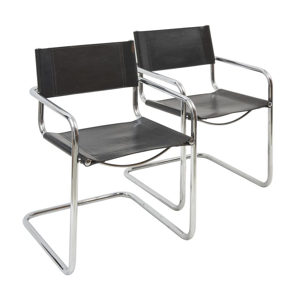 Steel And Leather Cantilevered Armchairs After Designs by Mart Stam