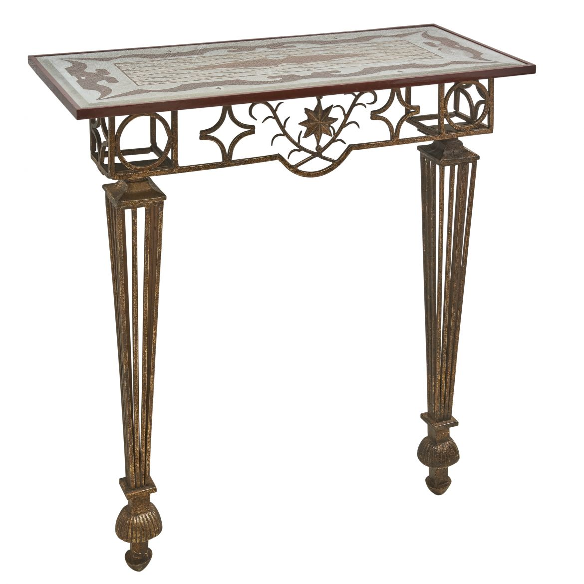 Wrought Iron And Gilt Console After Poillerat