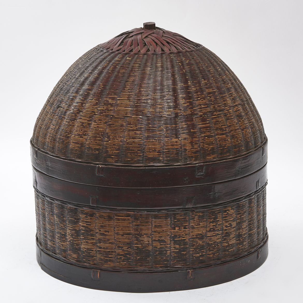 Chinese Wicker And Wood Basket