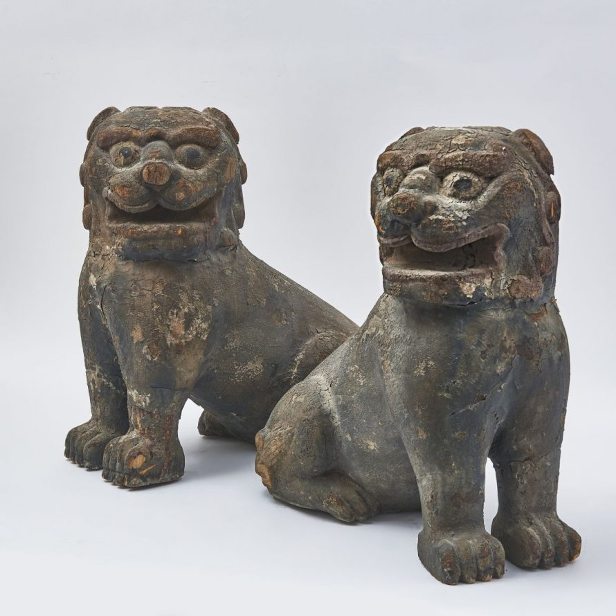 Pair Chinese Carved Wood Foo Dogs