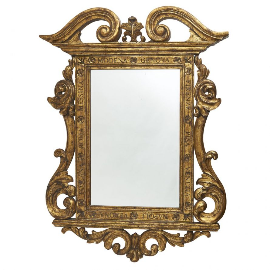 Large Giltwood Mirror With Carved Italian Place Names