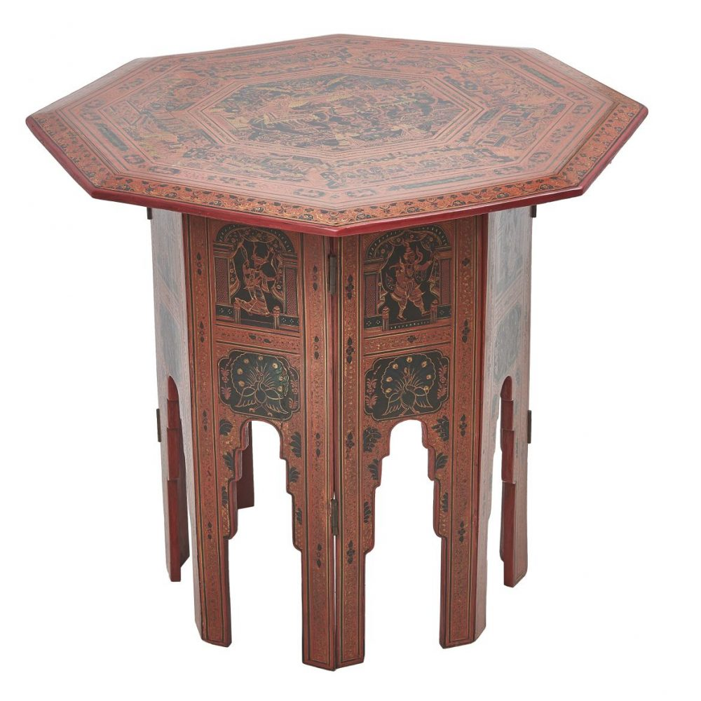Burmese Red And Black Lacquer Folding Table