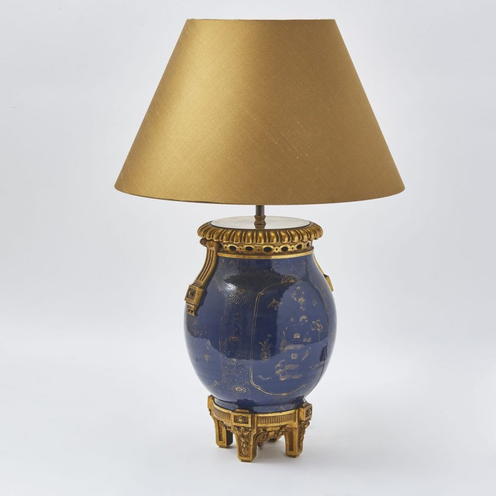 Chinese Powder Blue Vase Wired As Lamp