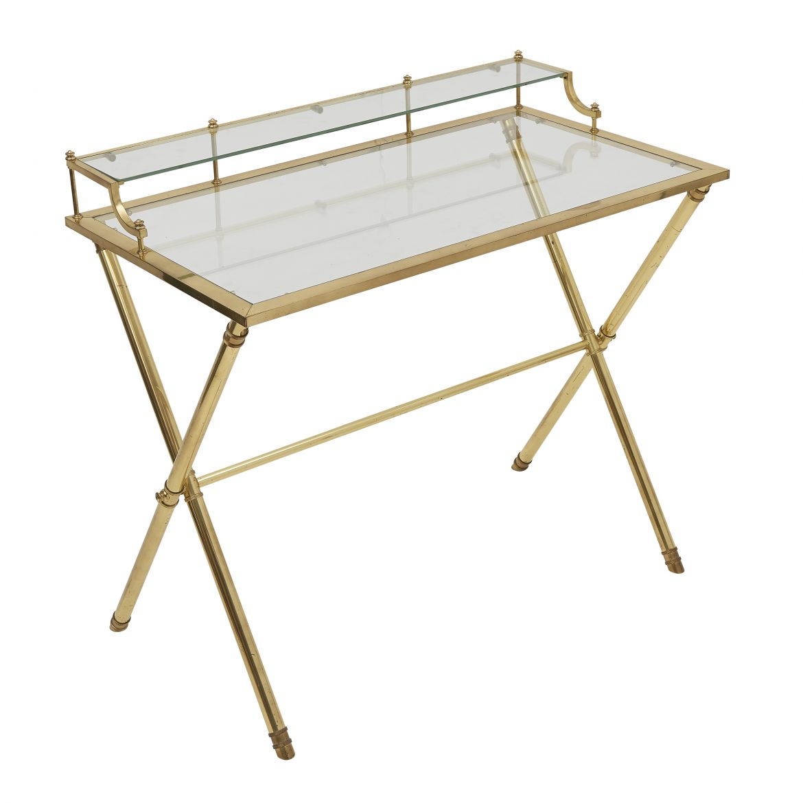 French Brass X Frame Writing Desk