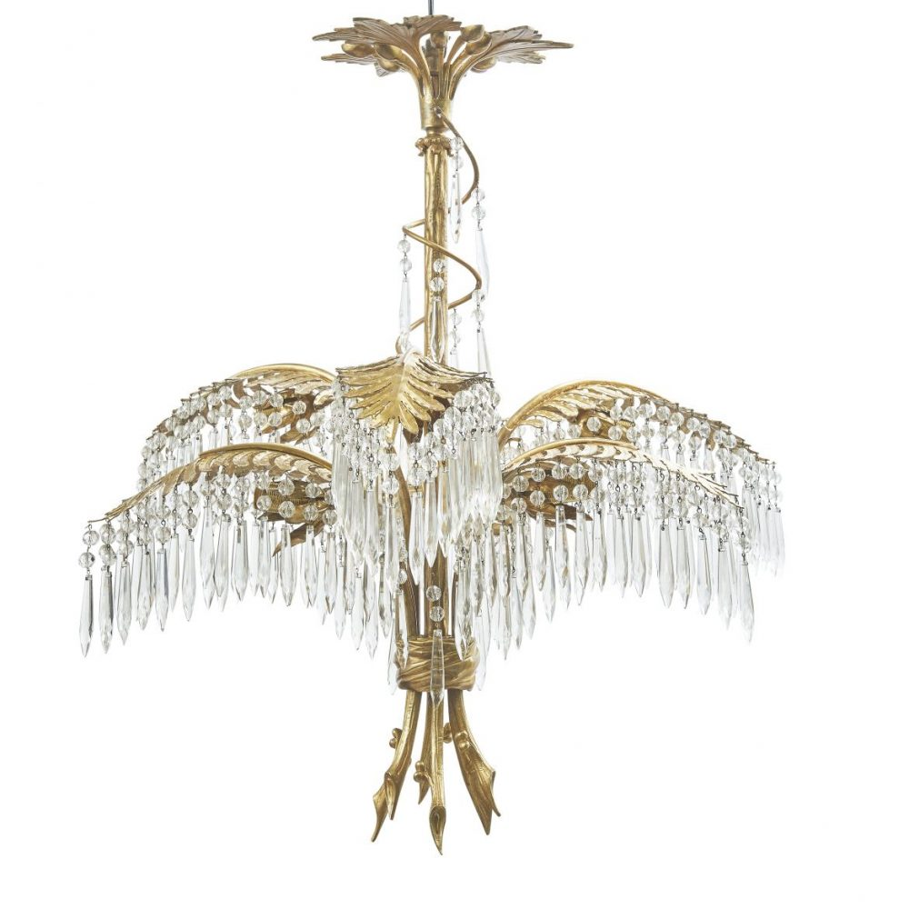 French Bronze And Crystal Palm Leaf Chandelier