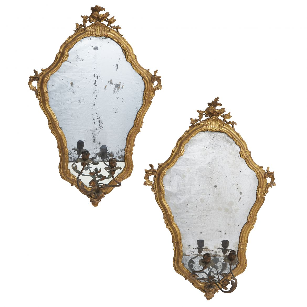 Venetian Shield Shaped Giltwood Mirrored Wall Appliques