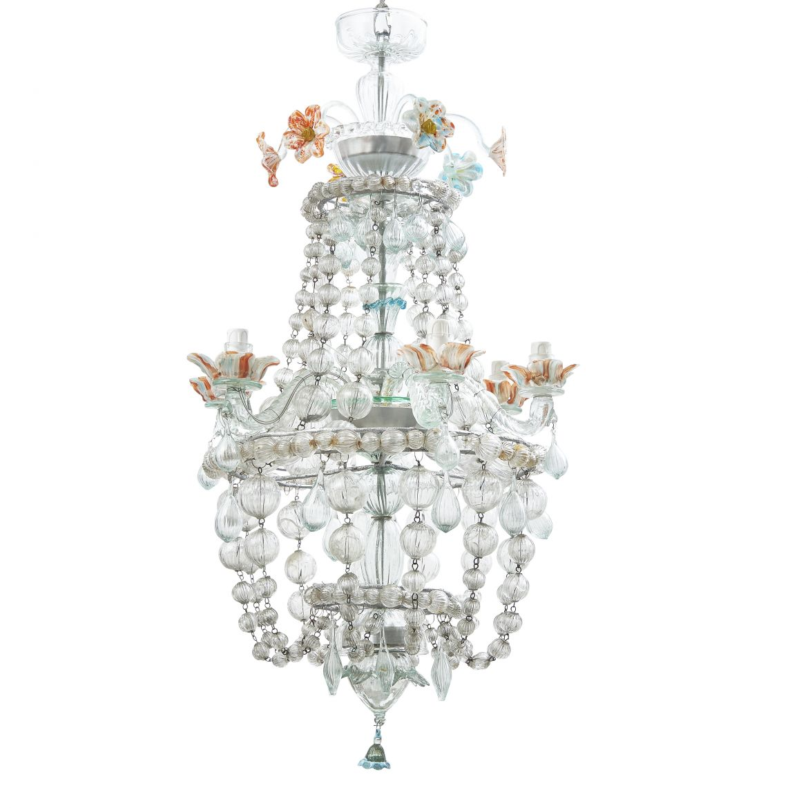 Italian Murano Chandelier With Hand Blown Glass Flowers