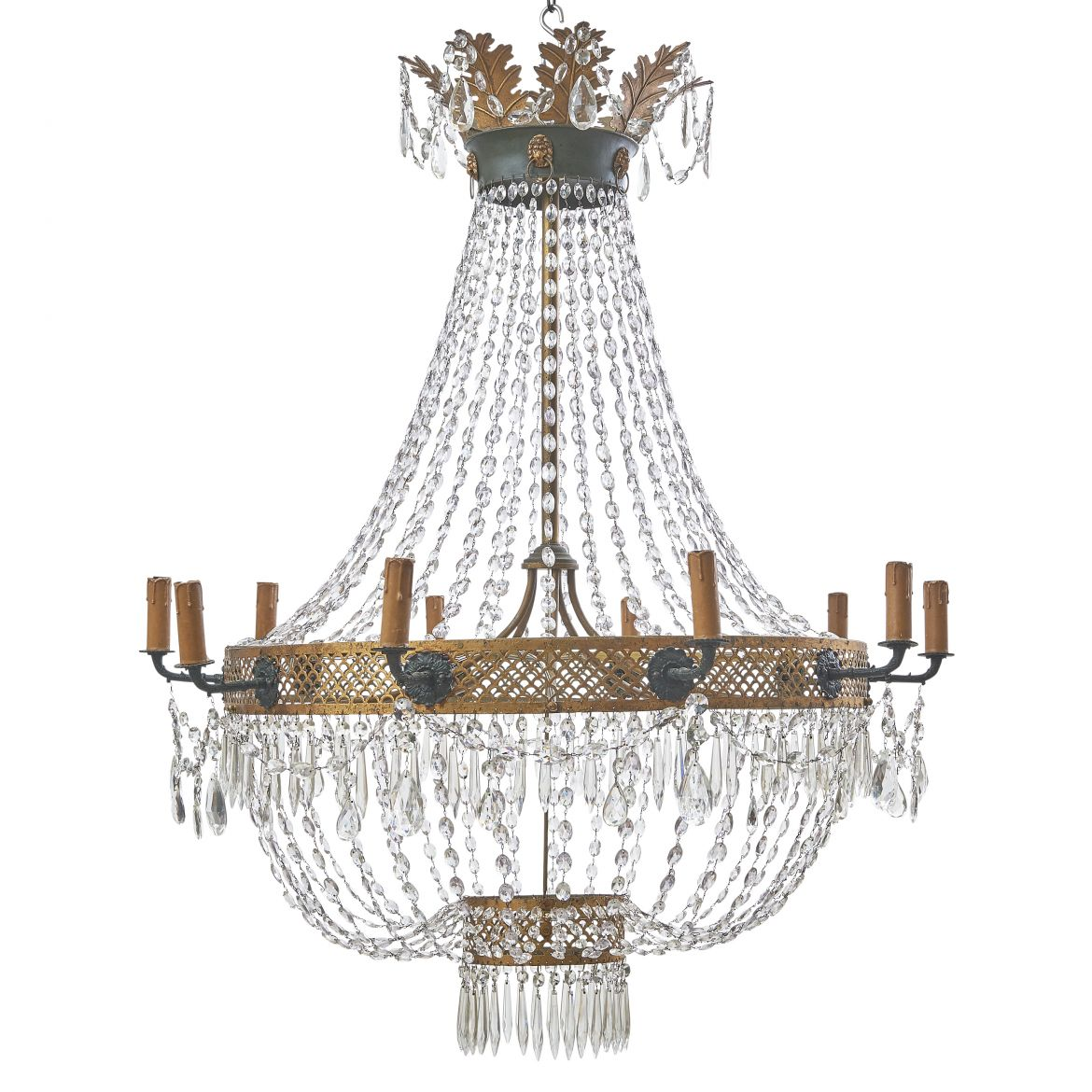 Empire Painted And Gilt Tole Tent Form Crystal Chandelier