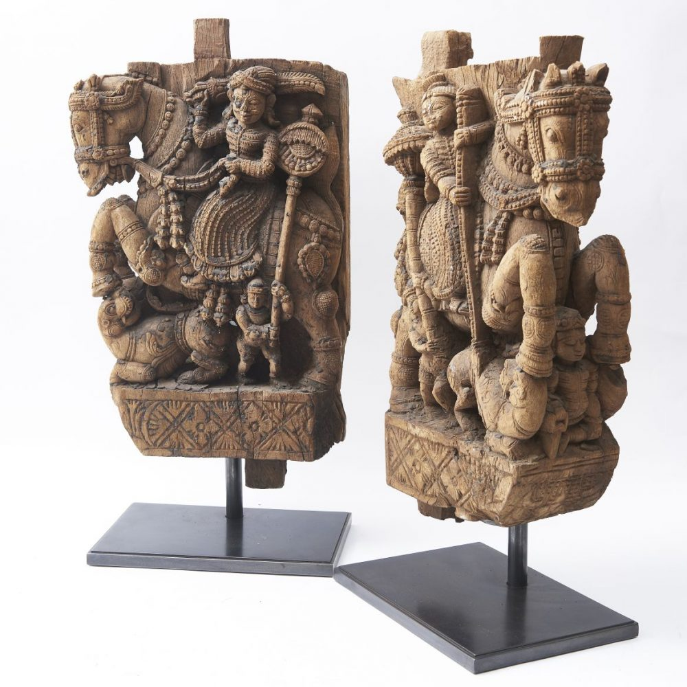 Pair Carved Wood Architectural Elements From A Hindu Temple