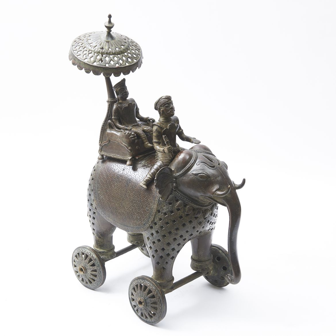 Unusual Indian Bronze Elephant Incense Burner
