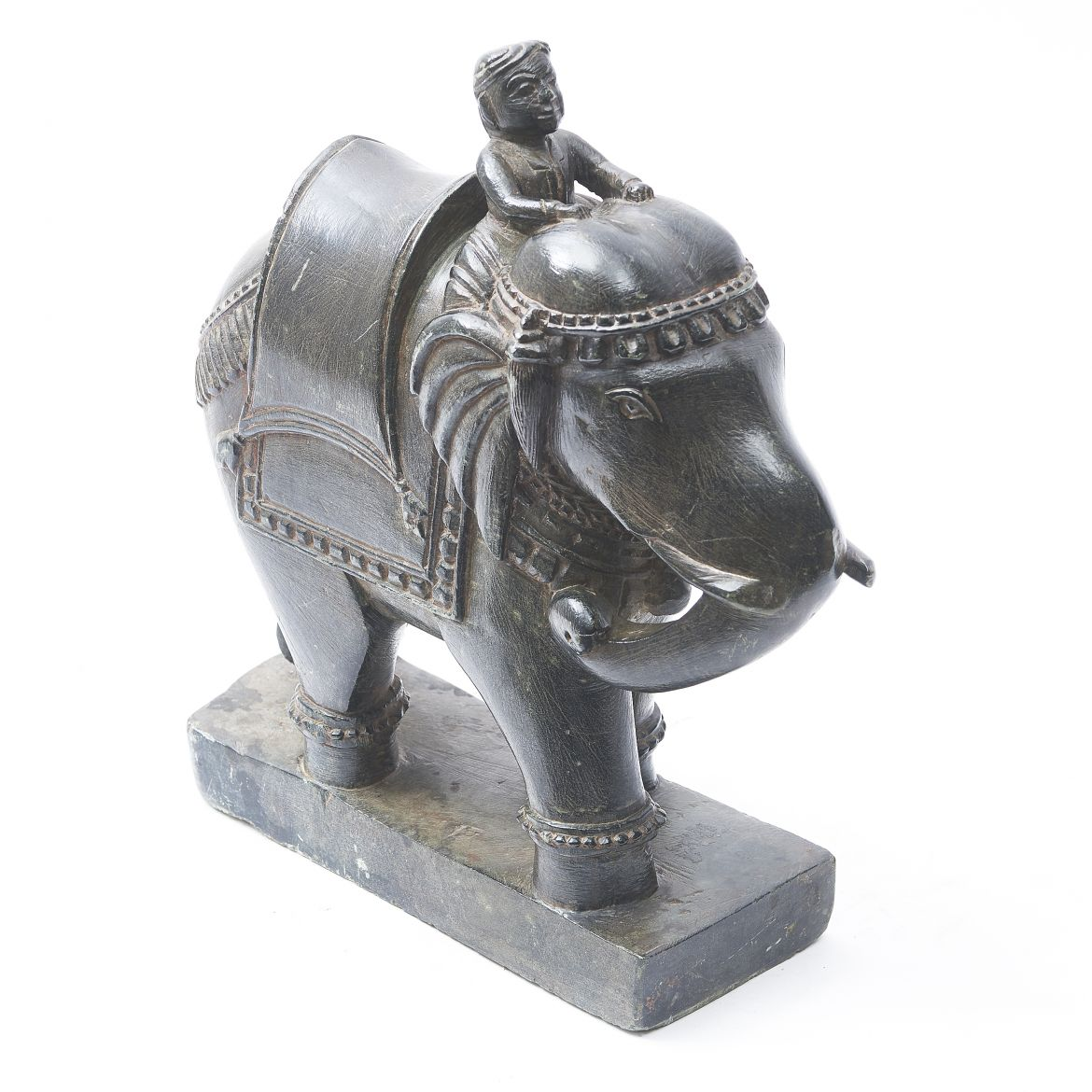 Noir Belge Marble Elephant With Mahout