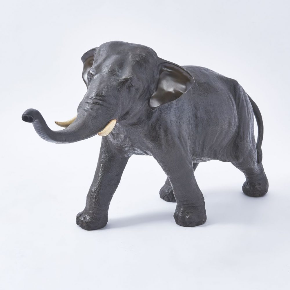 Japanese Bronze Elephant With Carved Wood Tusks