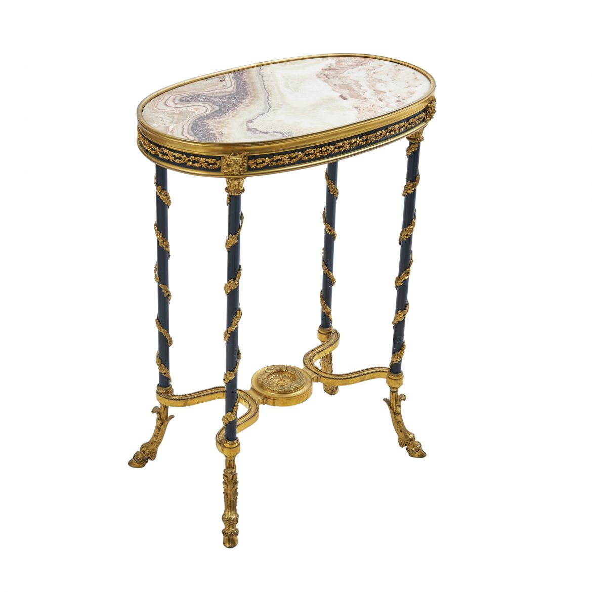 French Bronze And Ormolu Table With Onyx Top