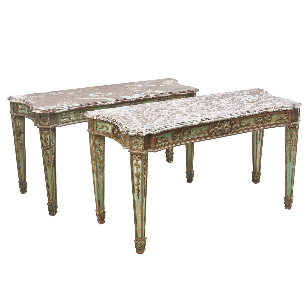 Pair Italian Neoclassical Console Tables With Variegated Marble Tops