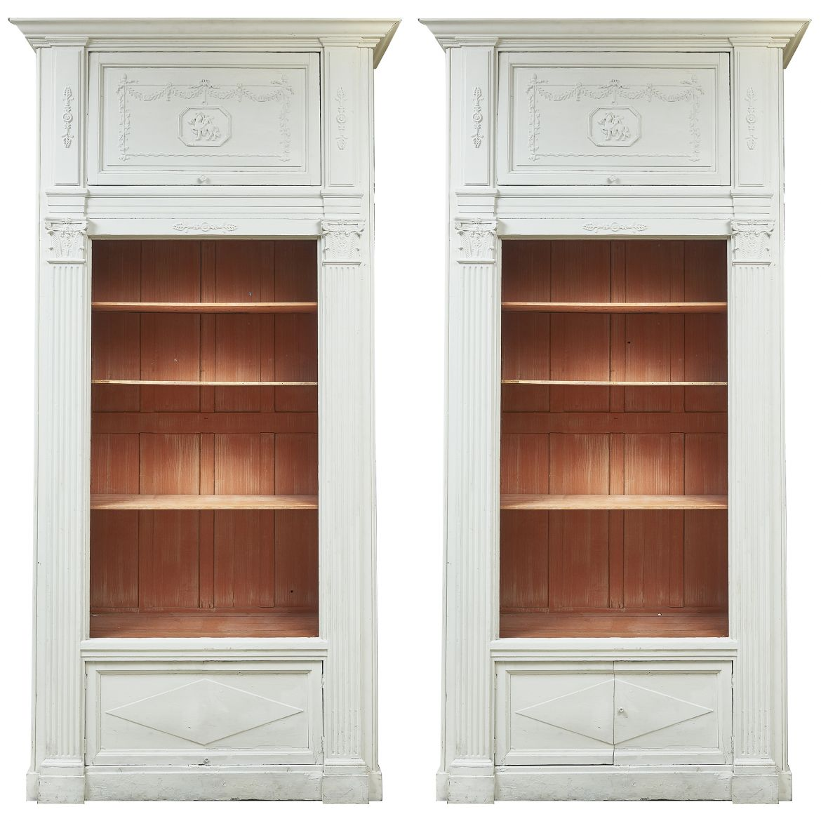Pair French Painted Bookcases