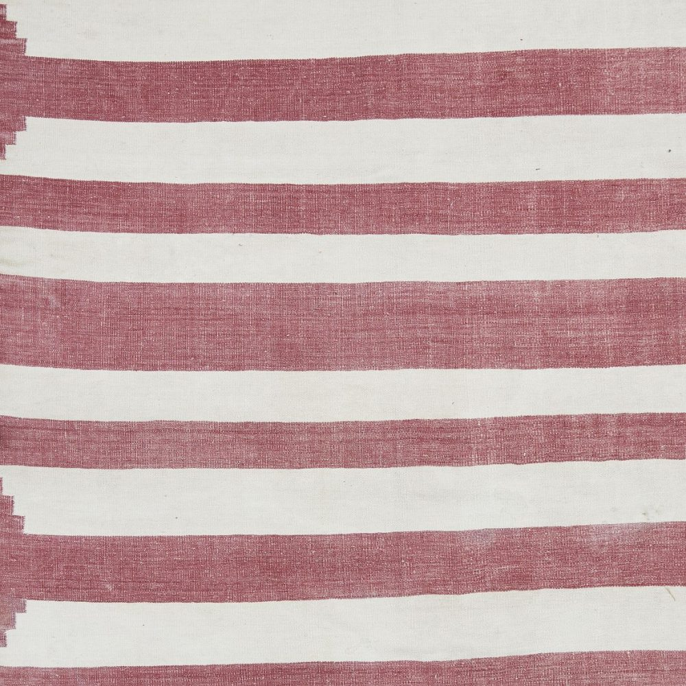 Indian Red And White Striped Dhurrie
