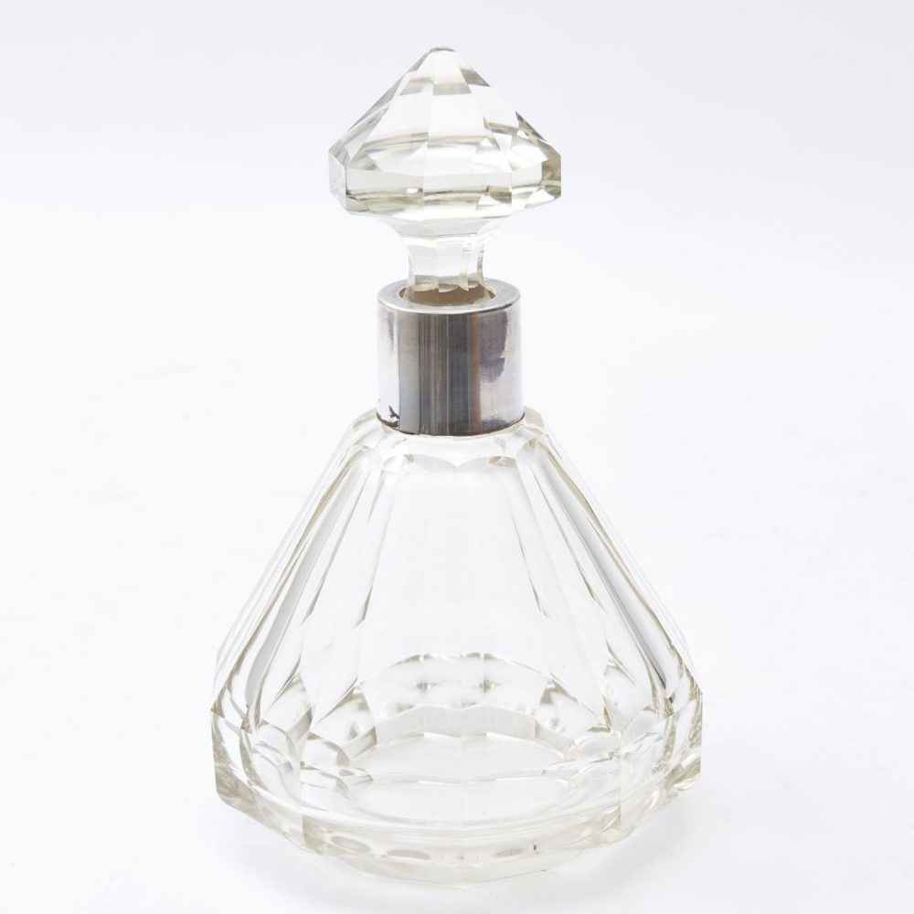 French Art Deco Cut Glass Conical Decanter