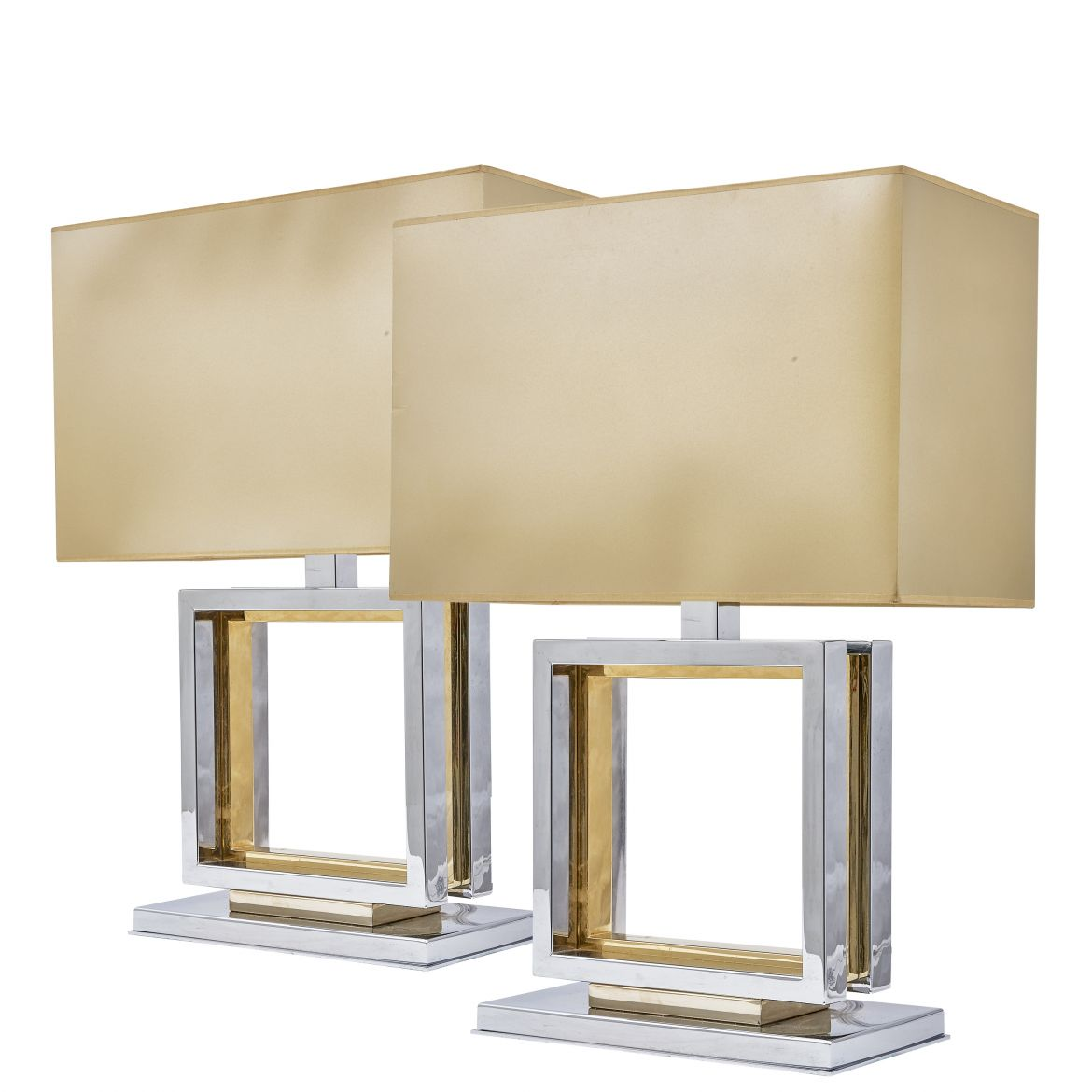 French Chrome And Brass Geometric Lamps