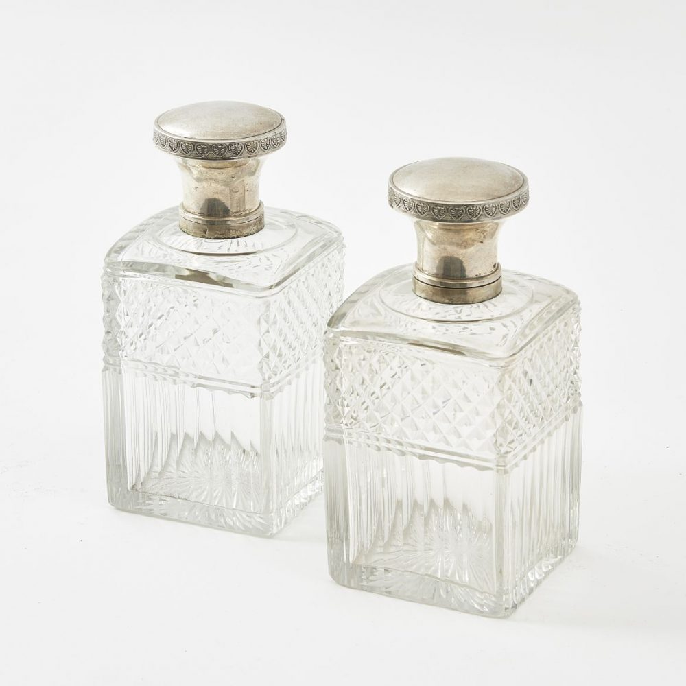 Pair Square Glass And Silver Mounted Perfume Bottles