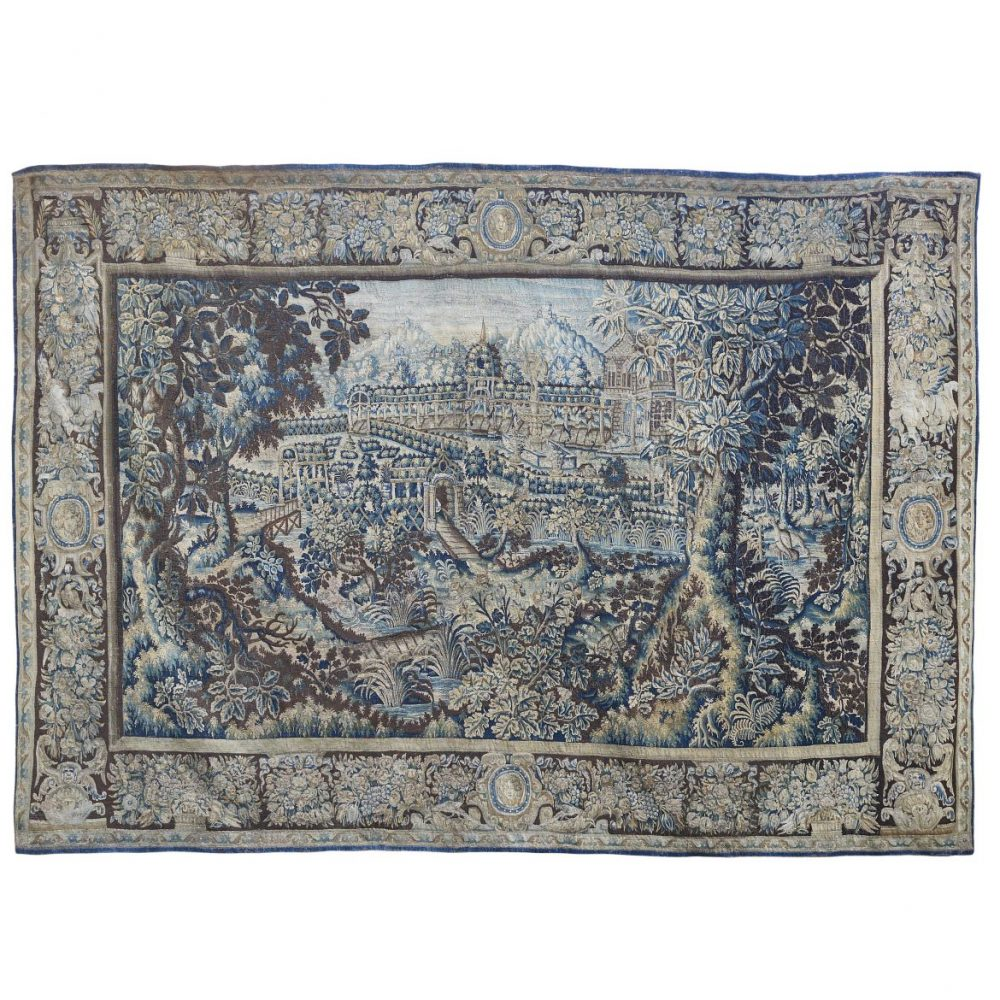 Flemish Verdure Tapestry With Floral Border