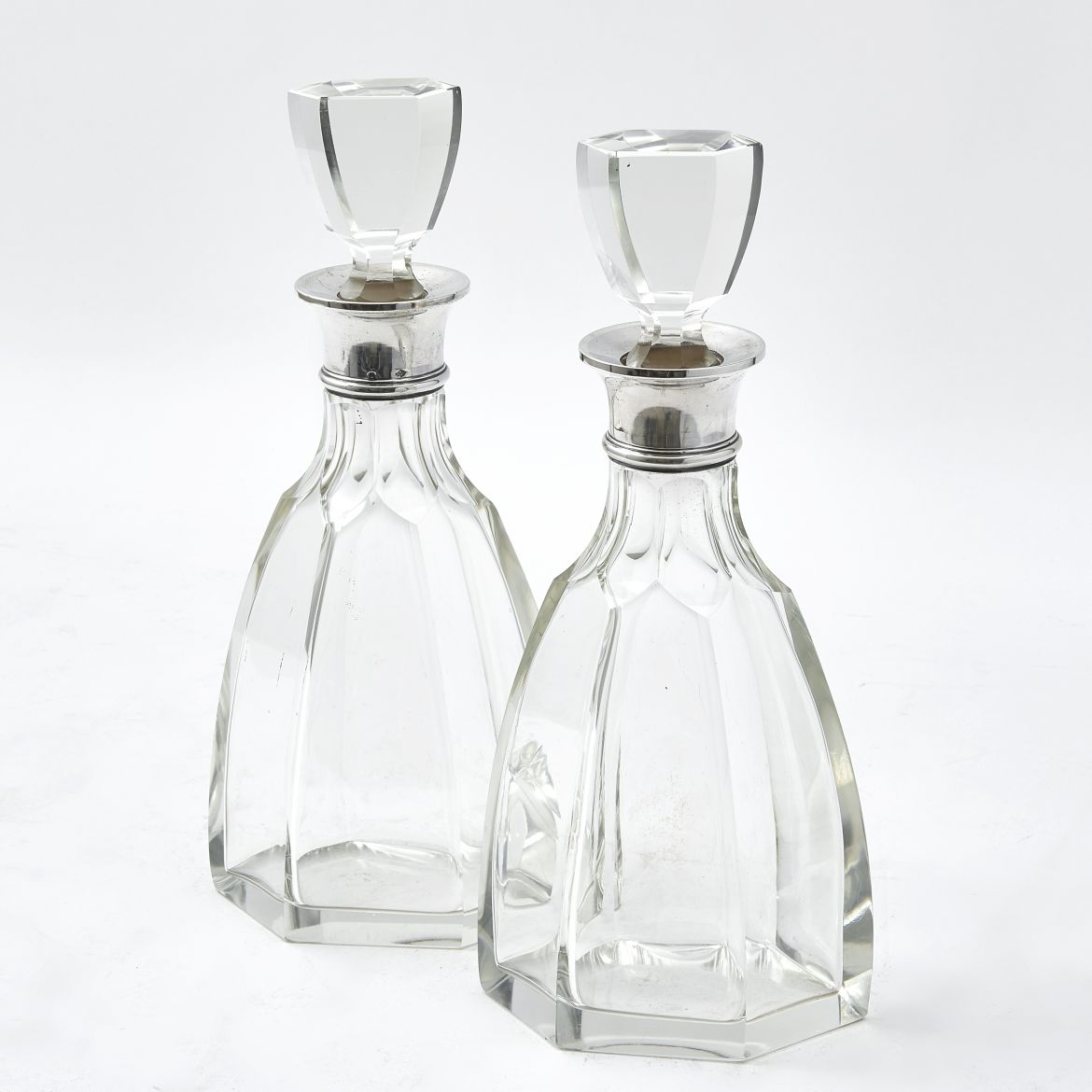 French Art Deco Lozenge Shaped Decanters