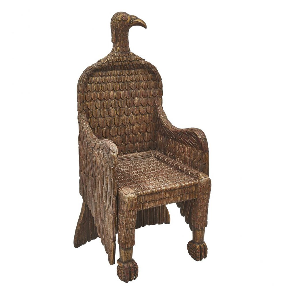 Unusual Giltwood Throne Covered In Carved Feathers