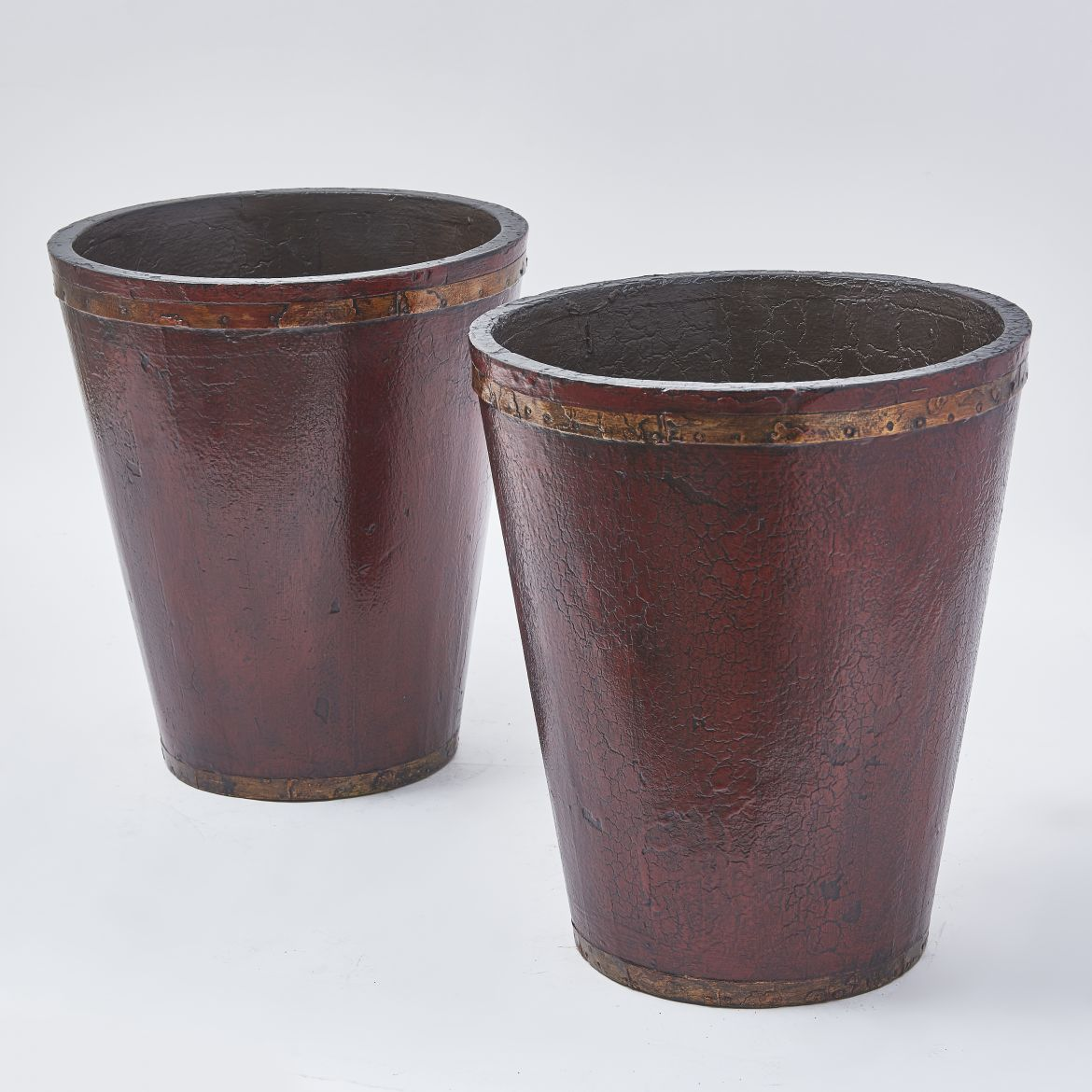 Pair Lacquered Wood Fire Buckets