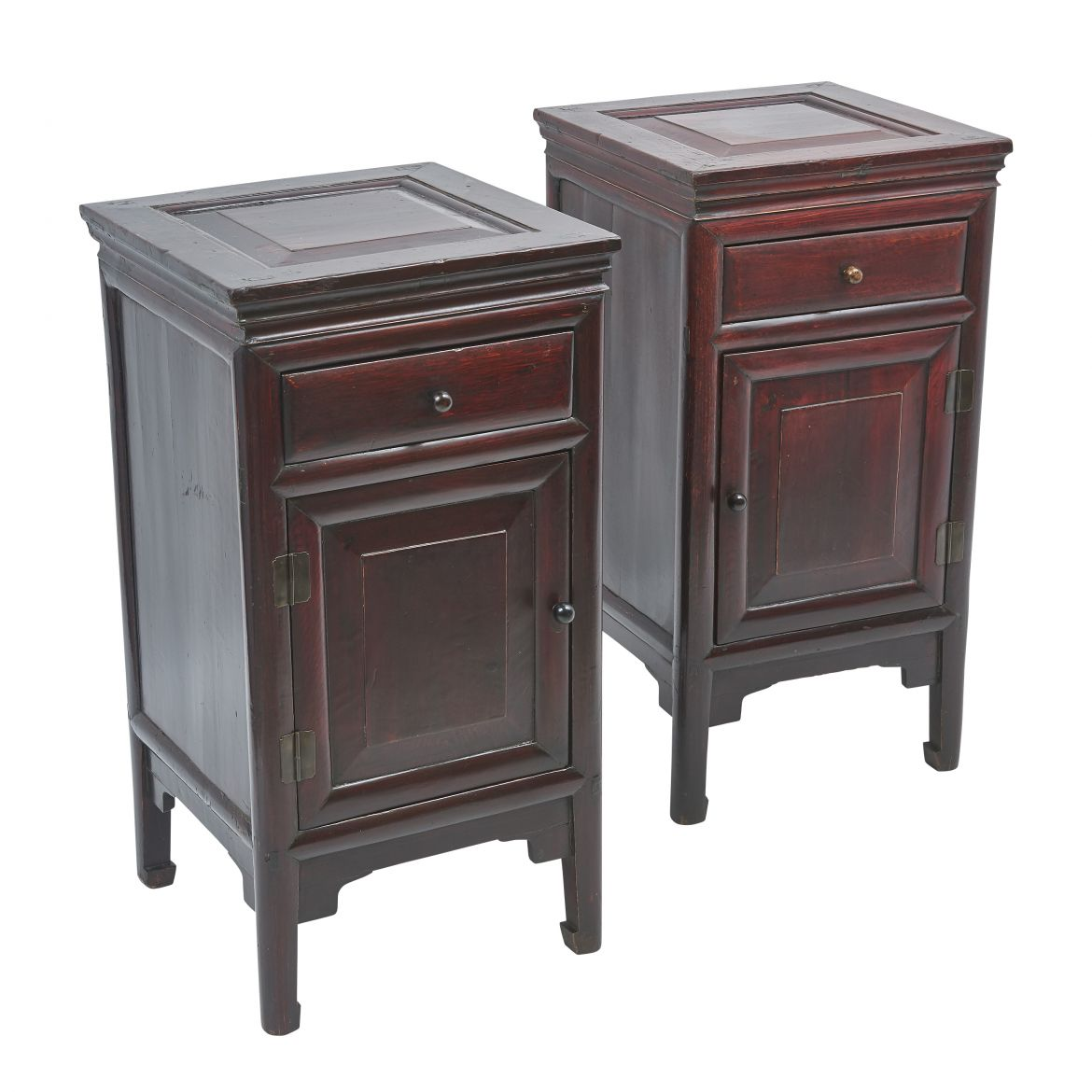 Chinese Lacquered Bedside Cupboards