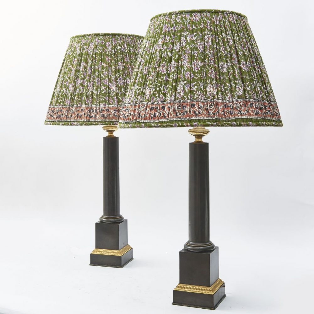 French Empire Tole And Ormolu Cylindrical Lamps
