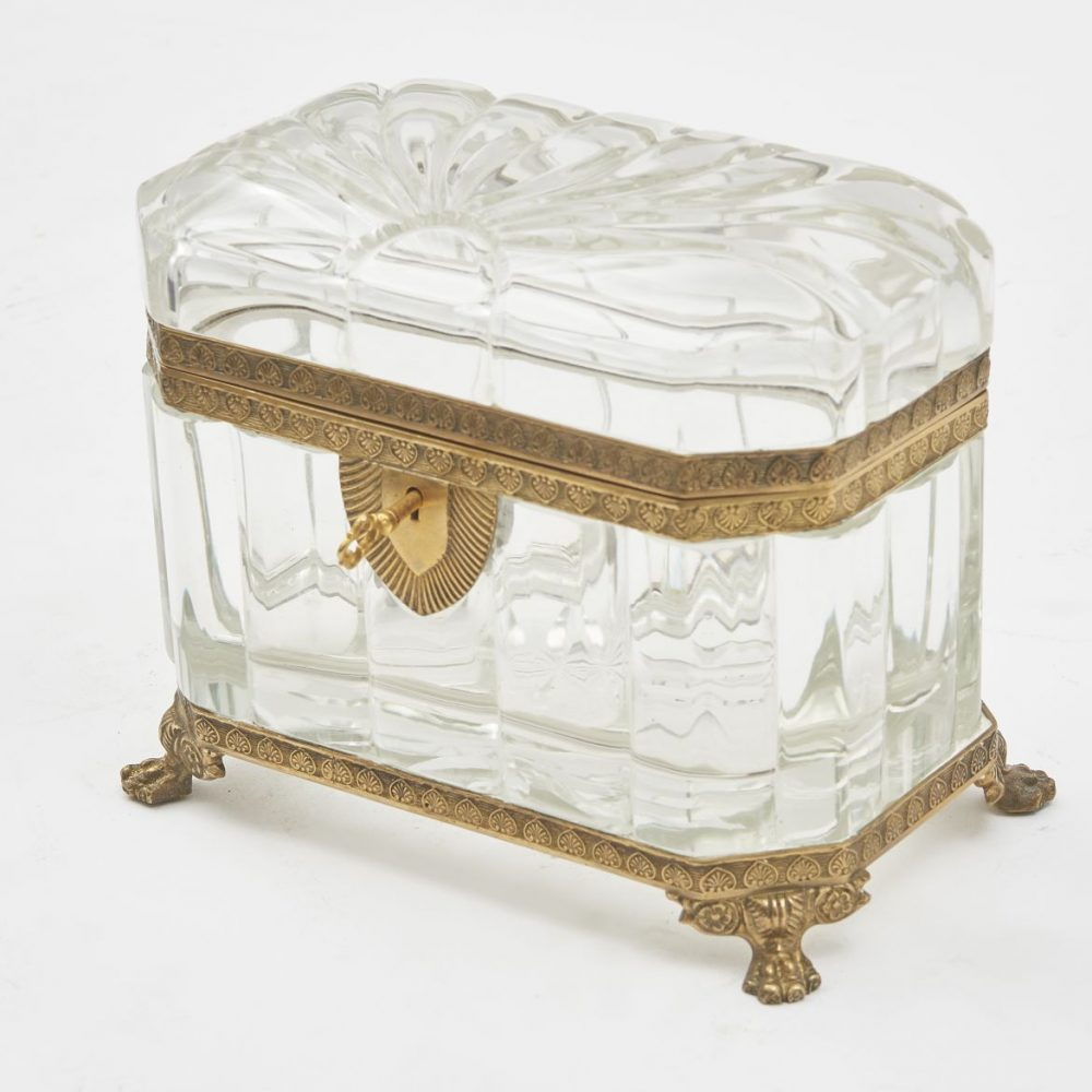 Canted Corner Glass Box With Lion Paw Feet