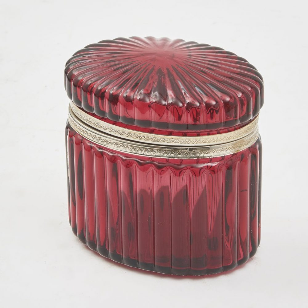 Oval Moulded Cranberry Glass Box