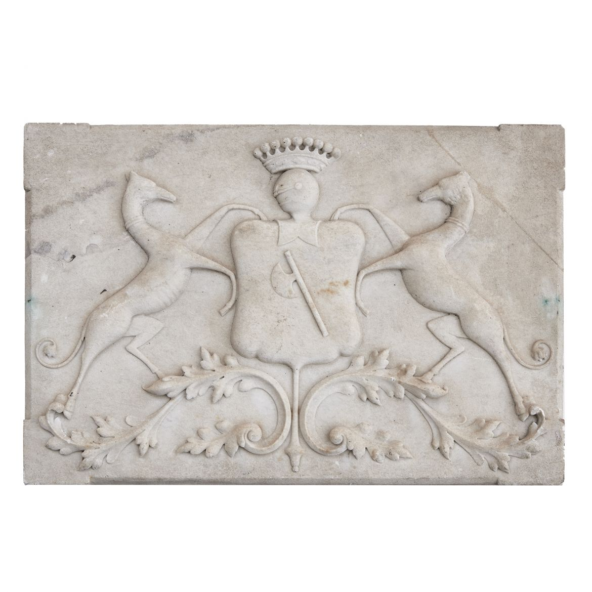 French Carved Marble Coat Of Arms