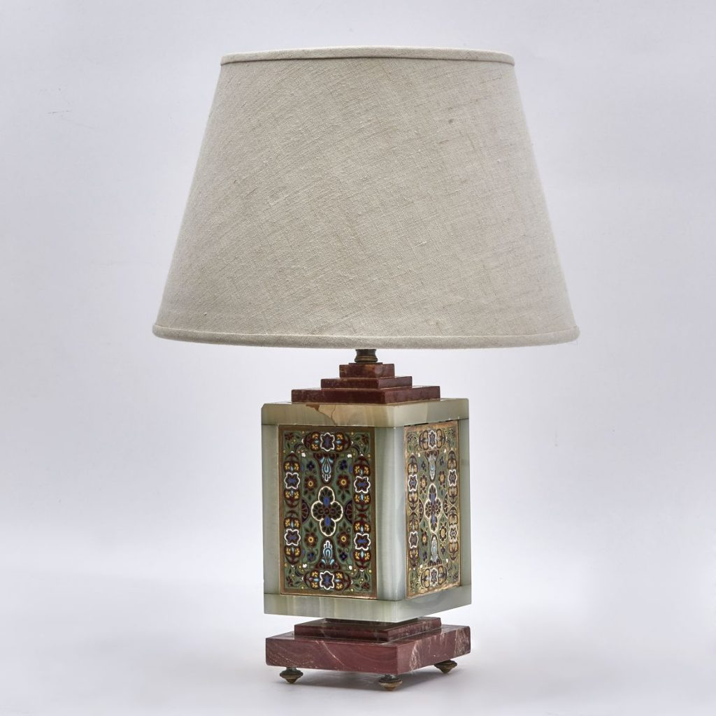 French Jade and Enamel Lamp