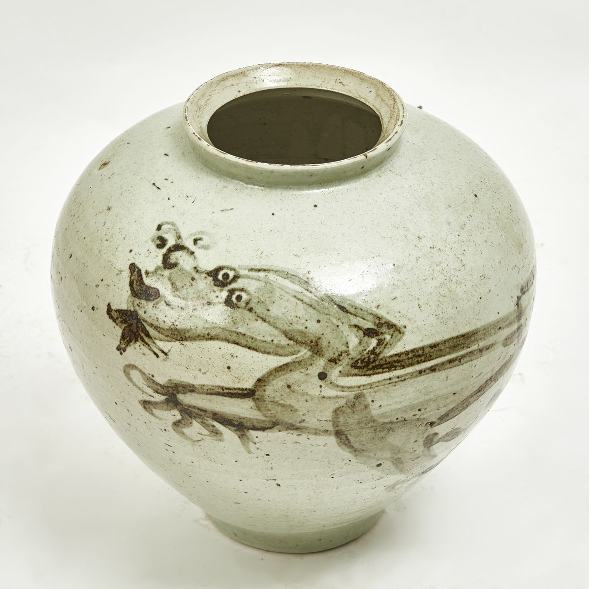 Chinese Glazed Jar With Dragon Design