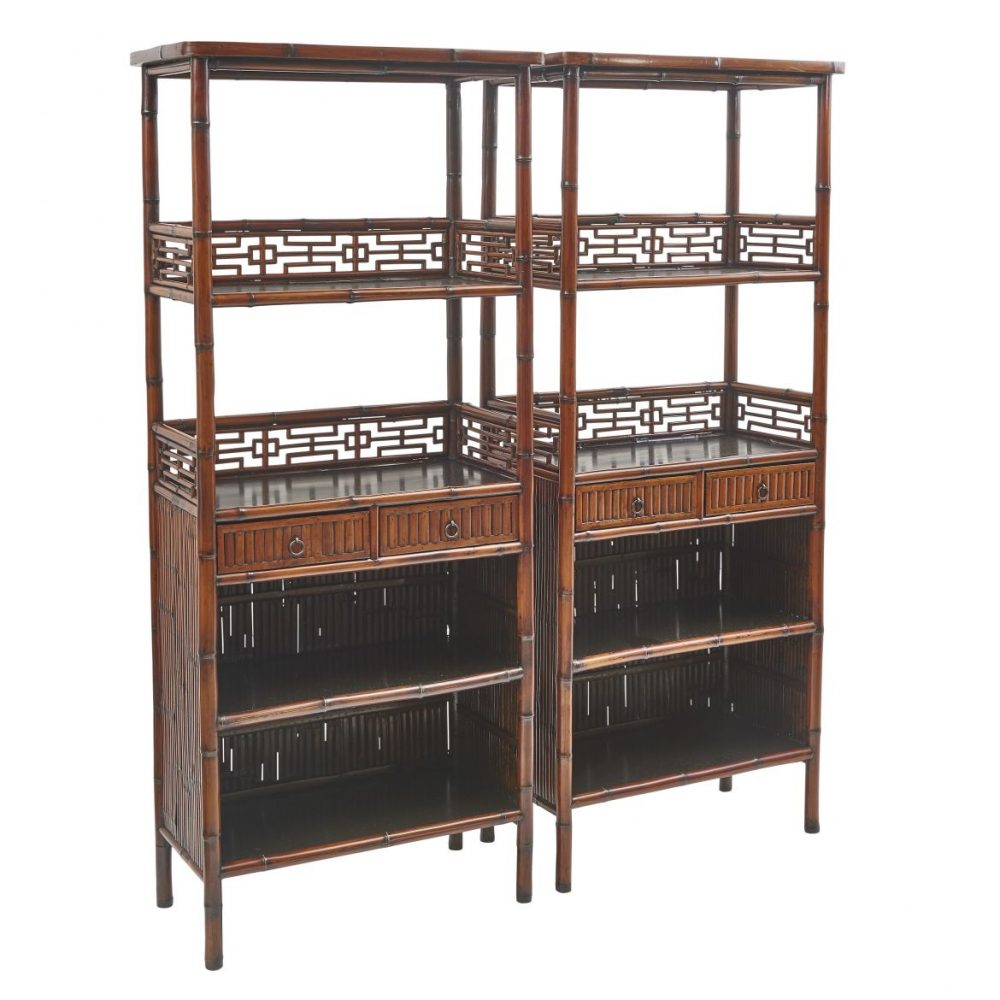Pair Chinese Bamboo Open Bookcases