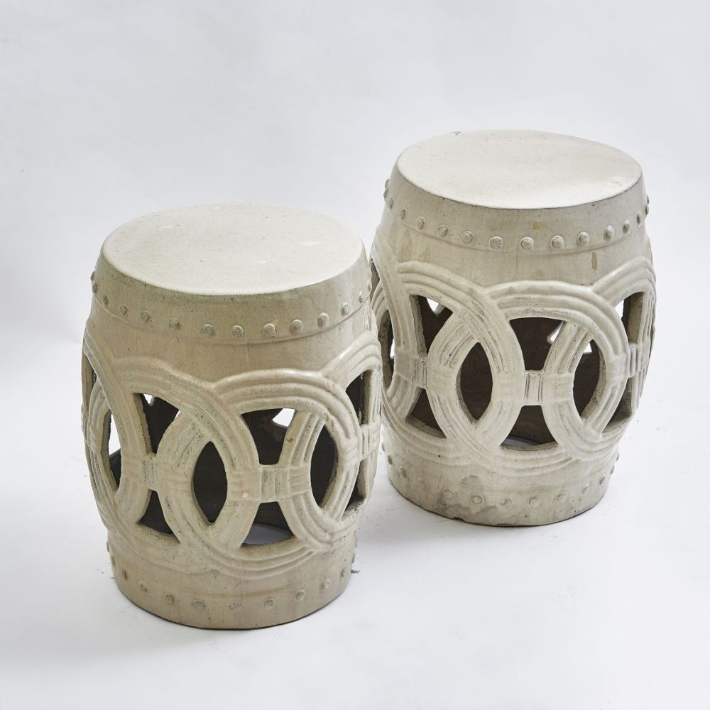 Pair Chinese Cream Glaze Lattice Barrel Garden Stools