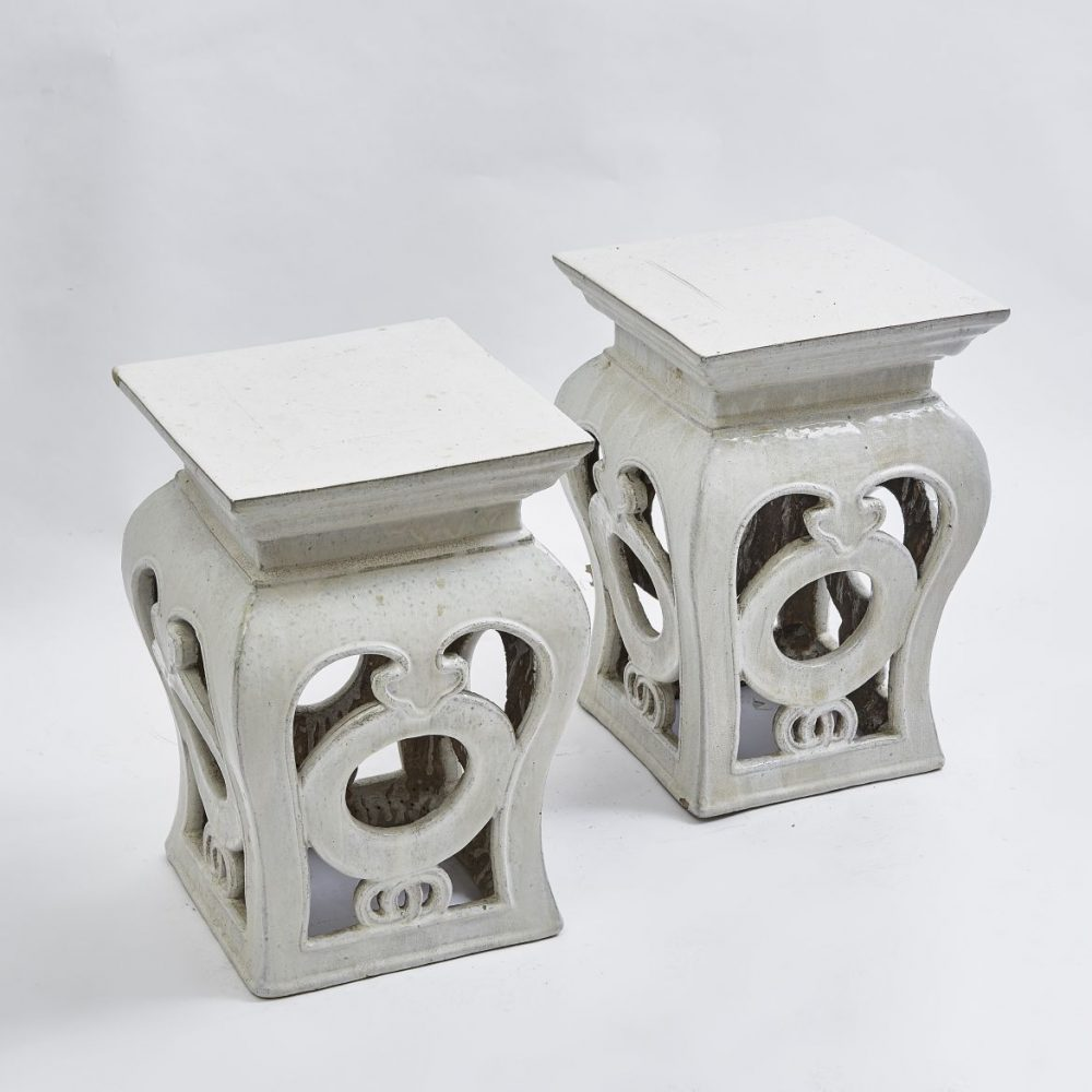 Pair Chinese Cream Glaze Square Baluster Stools