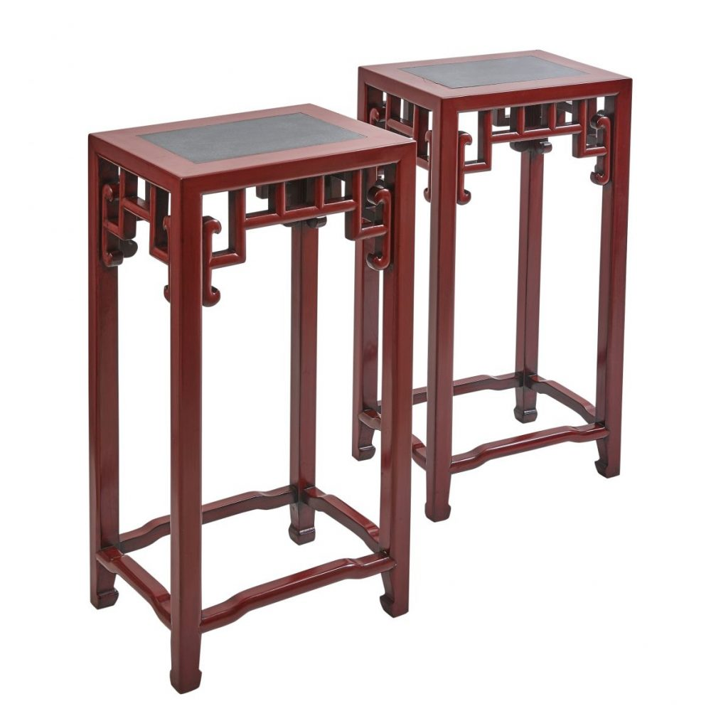 Pair Chinese Red Lacquered Tea Tables