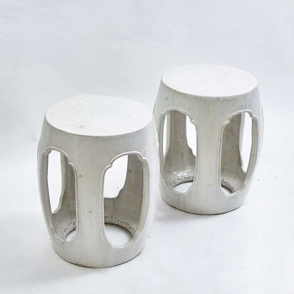 Chinese White Glaze Stools With Oval Cut Outs