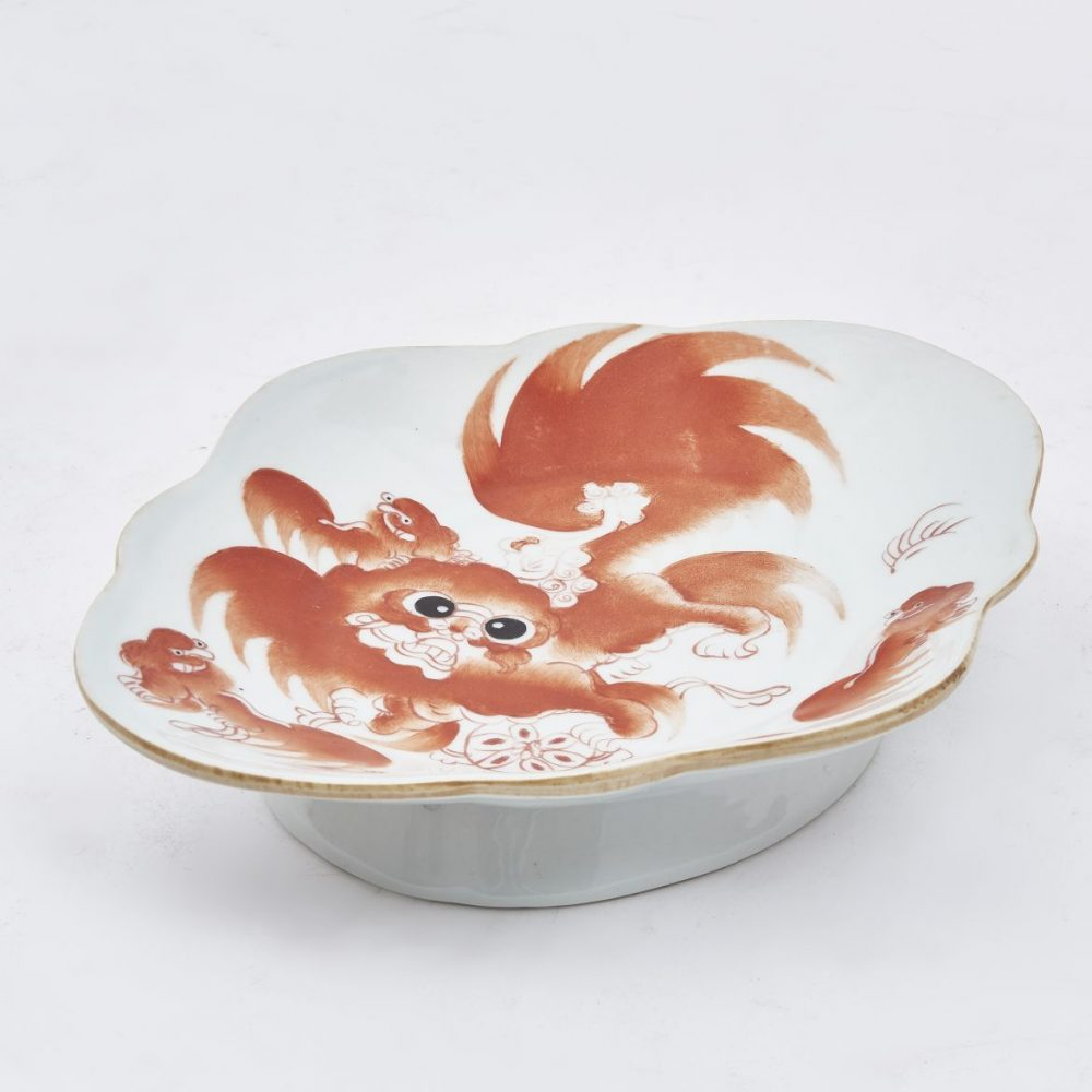 Pair Chinese Sweetmeat Dishes With Foo Dog Decoration