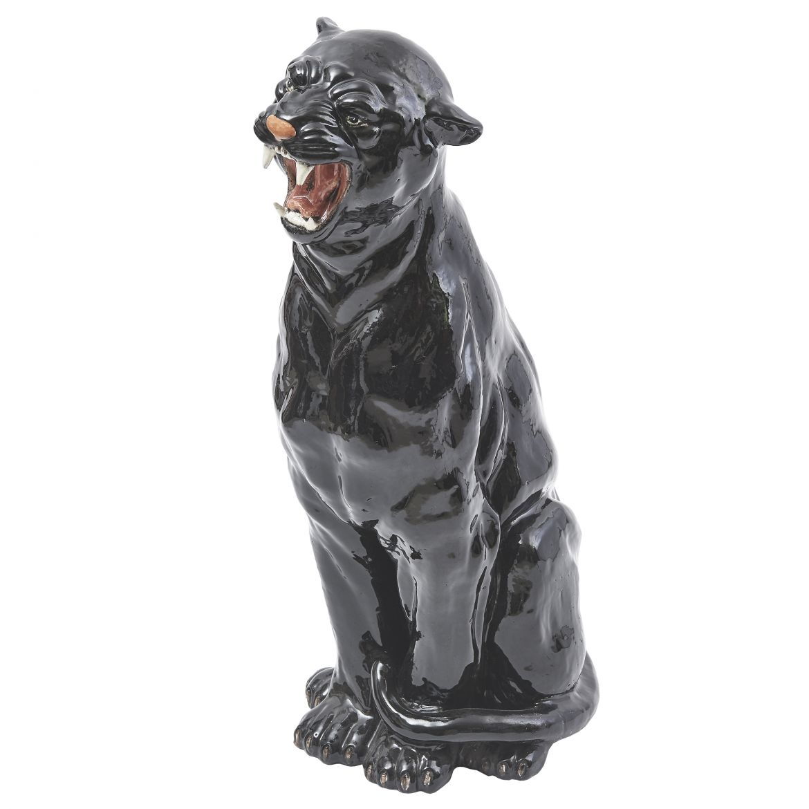 Italian Life Size Painted Ceramic Panther