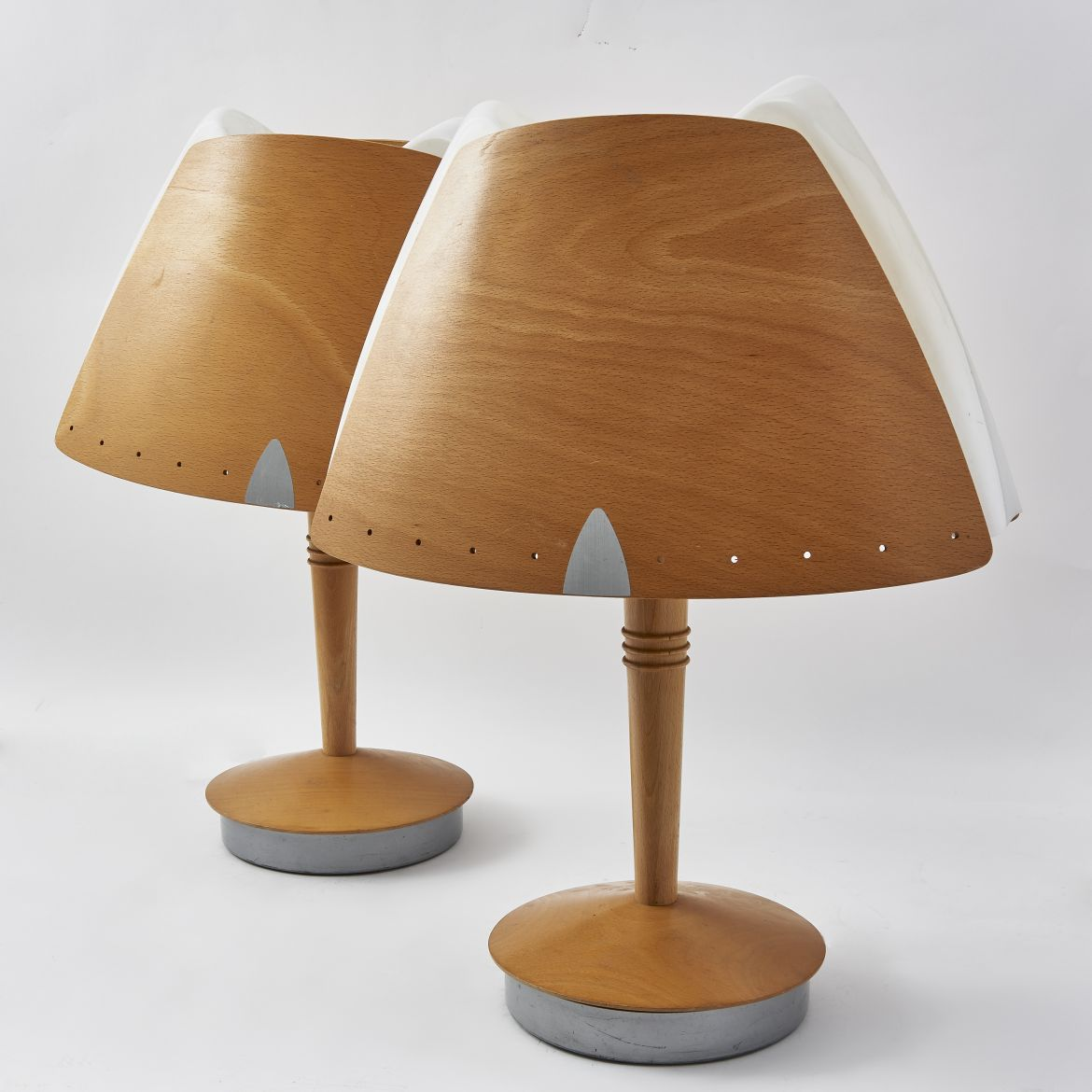 Pair Plywood And Translucent Plastic Lamps And Shades