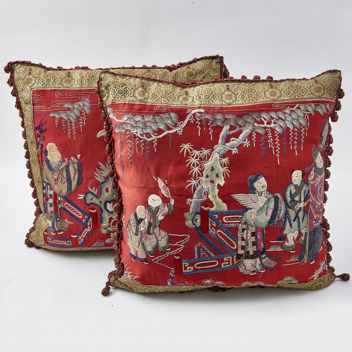 Japanese Embroidered Silk Cushions With Tasseled Fringe