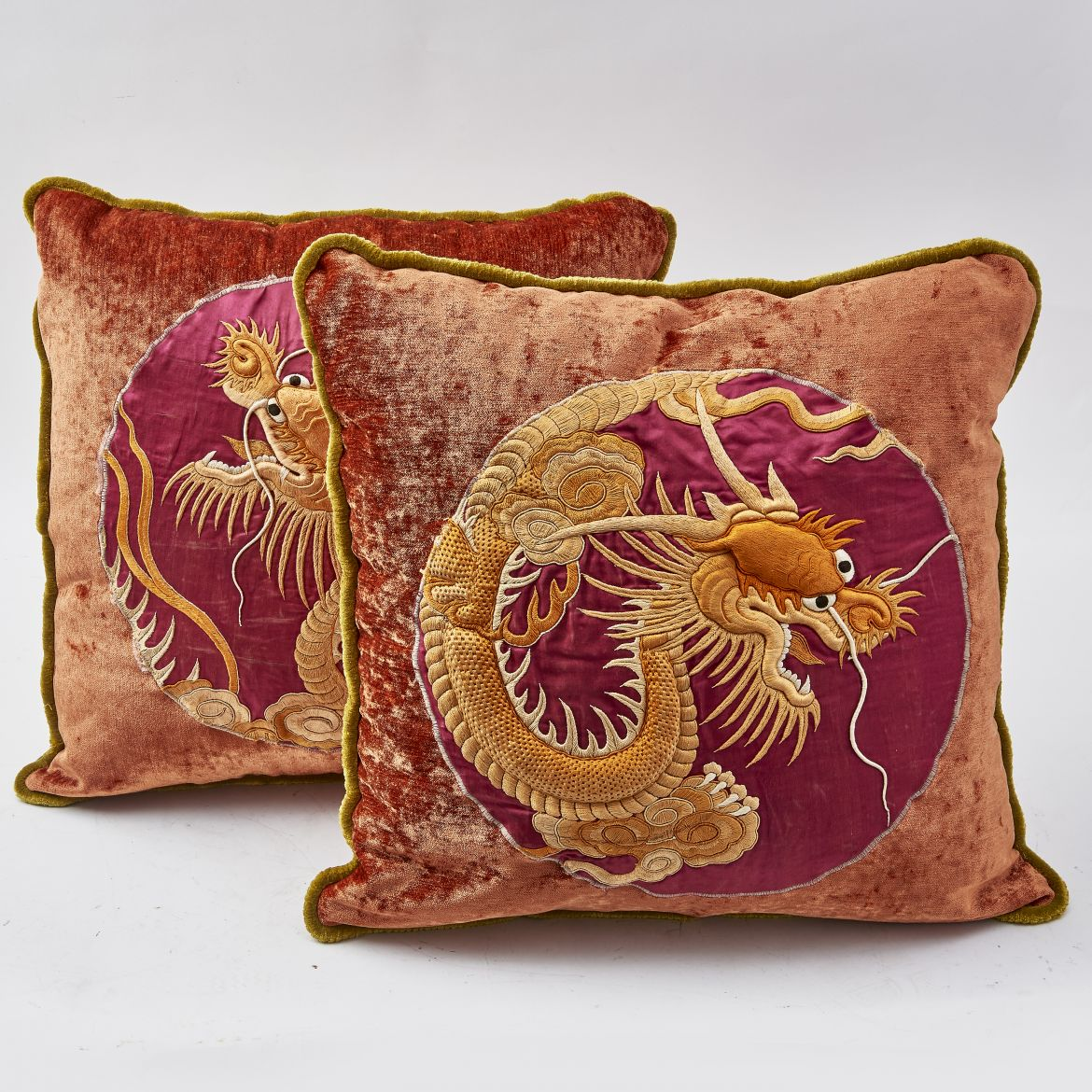 Japanese Embroidered Silk Panels Made Into Cushions