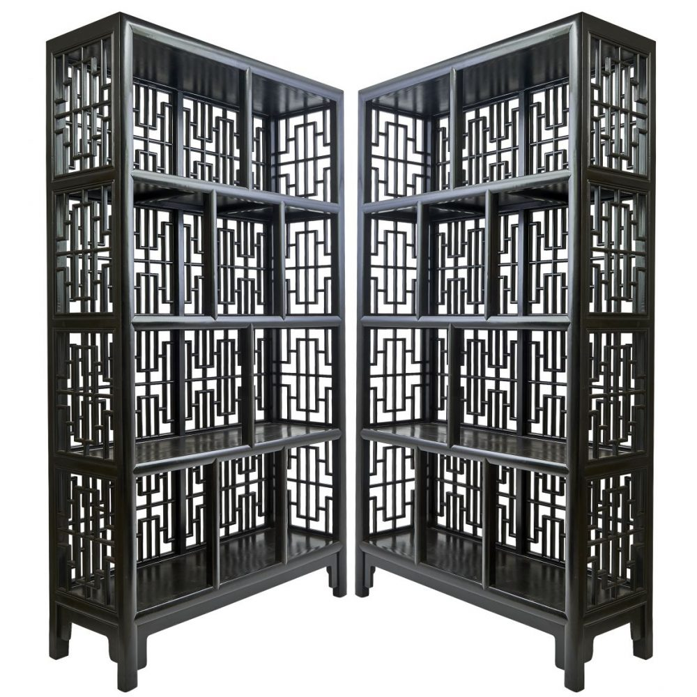 Pair Chinese Lacquered Geometric Lattice Bookcases