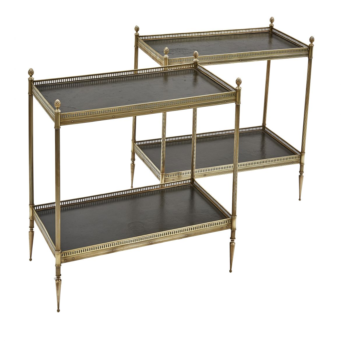 Pair French Brass End Tables With Tooled Leather Shelves